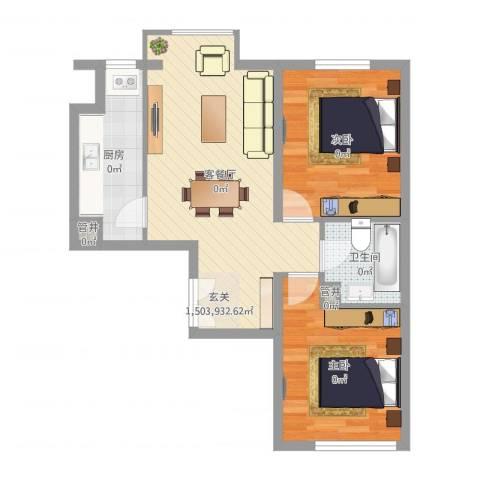东方威尼斯2室2厅1卫1厨67.00㎡户型图