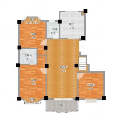 小城春秋3室2厅2卫1厨126.00㎡户型图
