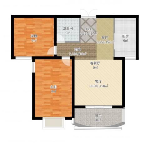 崇城国际2室2厅1卫1厨101.00㎡户型图