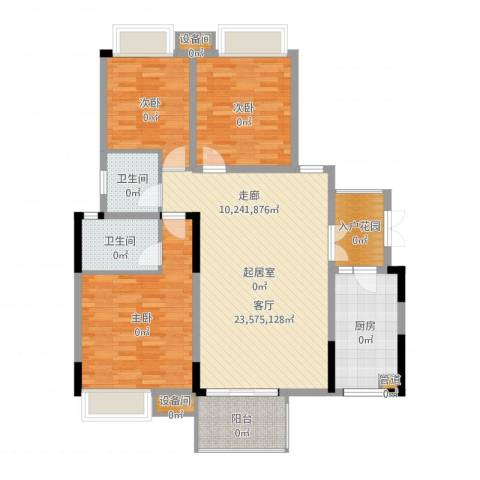 上城华府3室1厅4卫2厨123.00㎡户型图