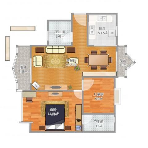 碧湖花园2室2厅2卫1厨86.00㎡户型图