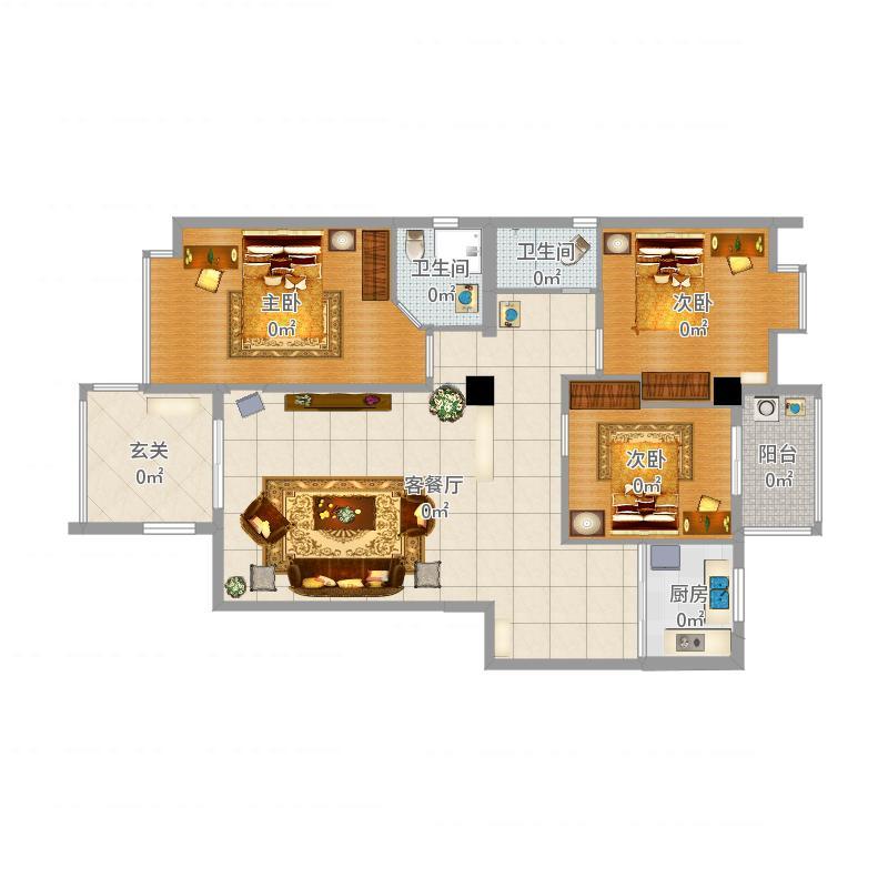 金泰花园4幢C梯102房原3房平面布置图