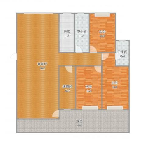 欧风花都3室2厅2卫1厨209.00㎡户型图