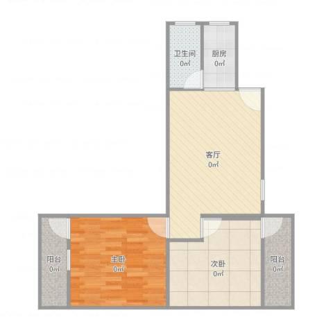 新兴白云花园2室1厅1卫1厨66.00㎡户型图