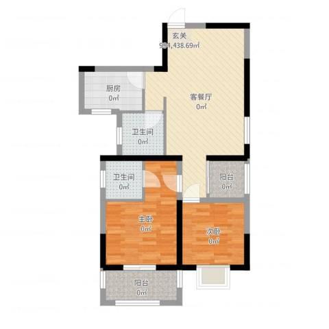 凡尔赛公馆2室2厅2卫1厨78.00㎡户型图