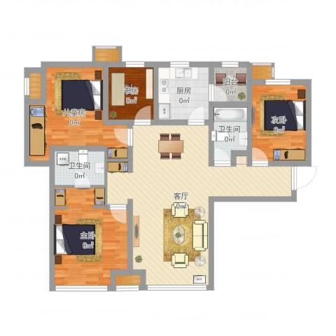 富力新城4室1厅2卫1厨116.00㎡户型图