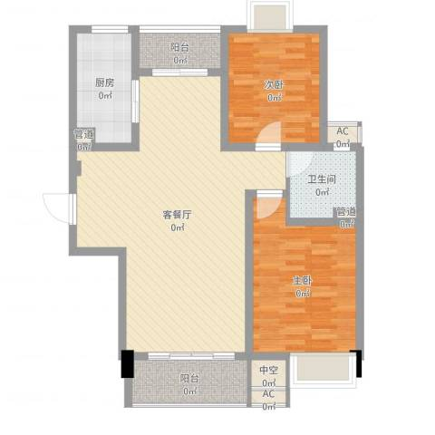 经纬城市绿洲四期泓汇地标2室2厅1卫1厨95.00㎡户型图