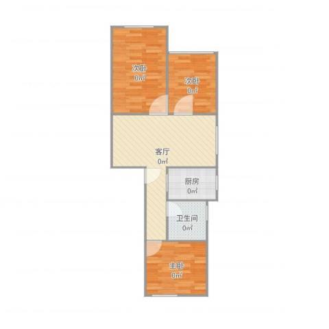 佳虹小区3室1厅1卫1厨66.00㎡户型图