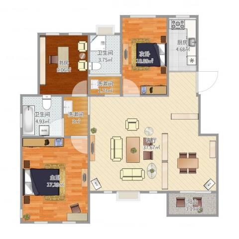 九江国际湾3室1厅2卫1厨120.00㎡户型图