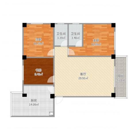 三源弘3室1厅2卫1厨113.00㎡户型图