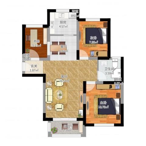 溪湖春晓3室1厅1卫1厨78.00㎡户型图