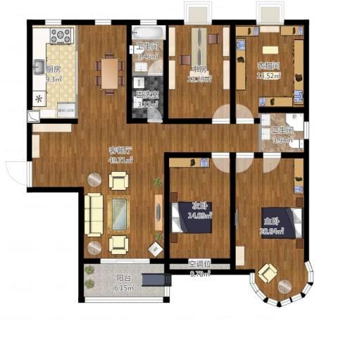 君廷湖畔3室4厅4卫1厨172.00㎡户型图
