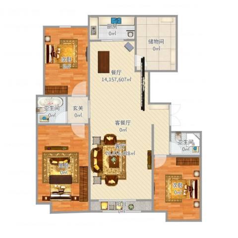 荣盛华府3室2厅2卫1厨138.00㎡户型图