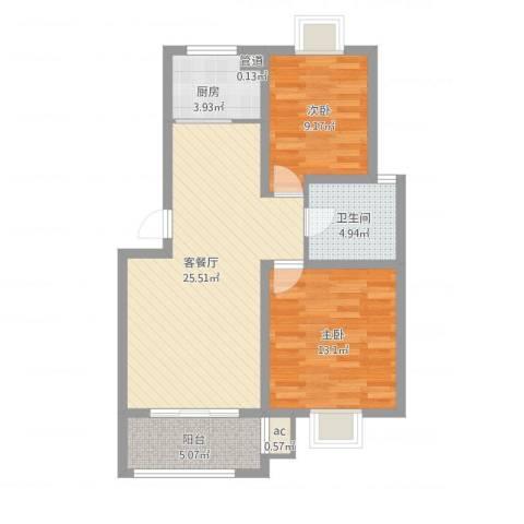 榕侨翡翠湾2室2厅1卫1厨90.00㎡户型图