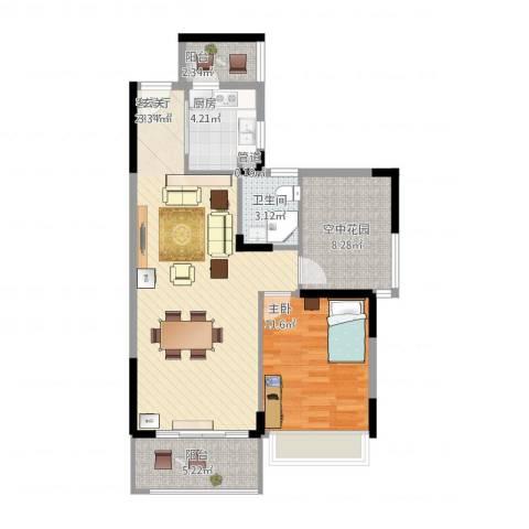 文华二期1室2厅1卫1厨90.00㎡户型图