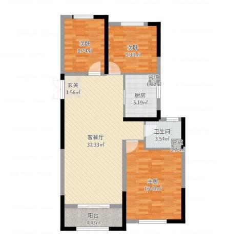 米兰花园3室2厅1卫1厨91.04㎡户型图