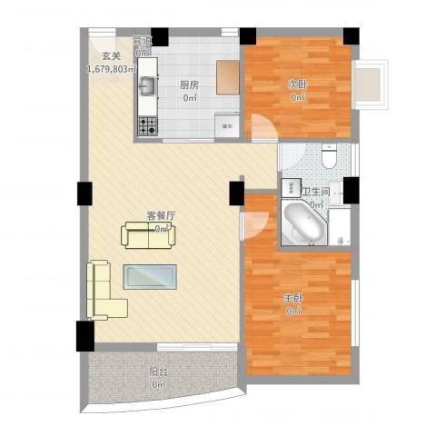 华森公园首府2室2厅1卫1厨88.00㎡户型图