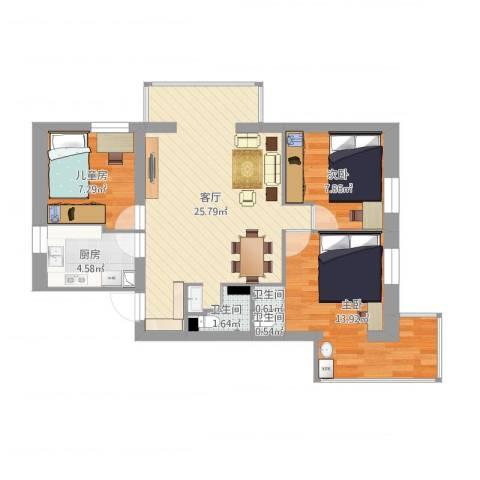 安苑北里3室1厅3卫1厨78.00㎡户型图