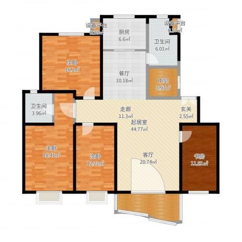 恒通花园5室1厅4卫1厨163.00㎡户型图