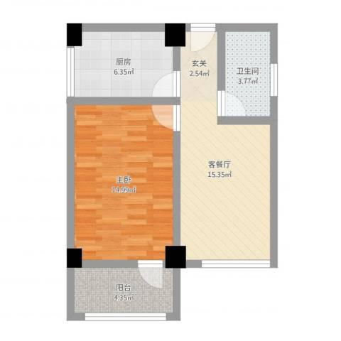 华都凤凰山庄1室2厅1卫1厨56.00㎡户型图