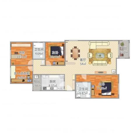龙腾苑三区3室1厅2卫1厨160.00㎡户型图