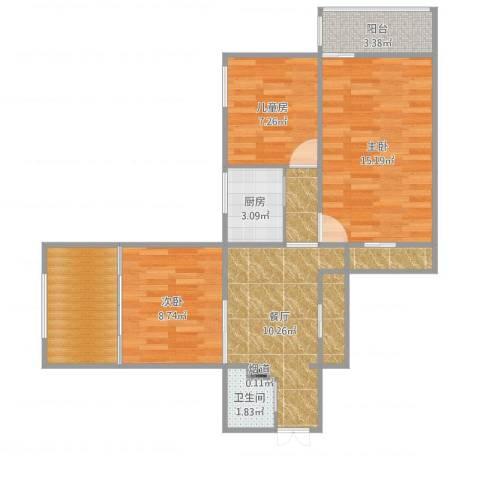西便门东里3室1厅4卫3厨76.00㎡户型图