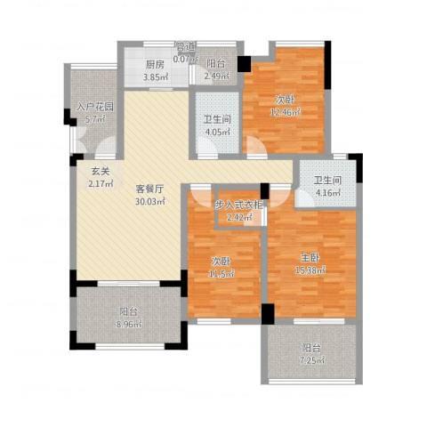 竣尊・御景国际3室2厅2卫1厨135.00㎡户型图