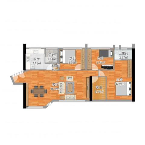 怡苑3室1厅1卫1厨111.00㎡户型图