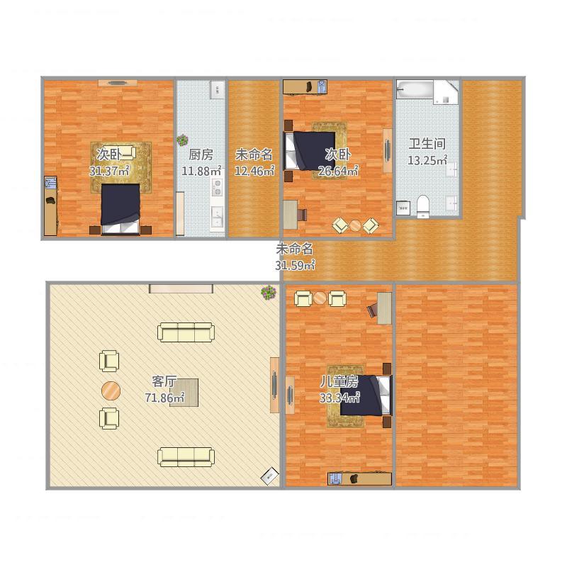 济南_阳光100一期西区D7D8号楼五室两厅三卫F户型_2016-03-23-0056