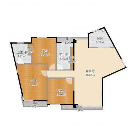 万象新天3室2厅2卫1厨117.00㎡户型图