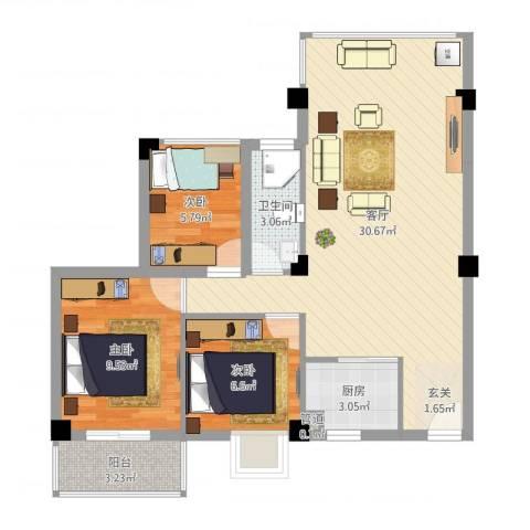 乐活小镇3室1厅2卫1厨78.00㎡户型图