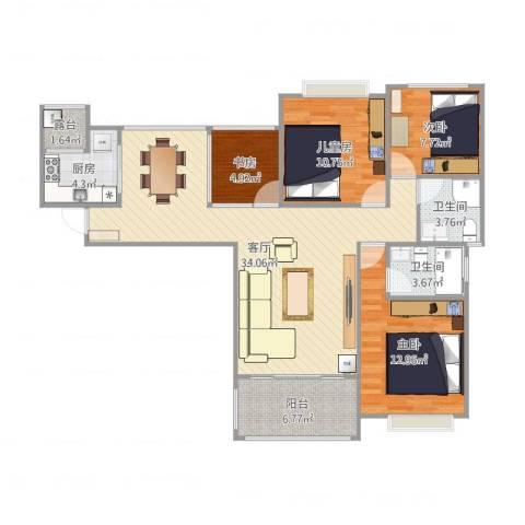 中海东郡4室1厅2卫1厨123.00㎡户型图