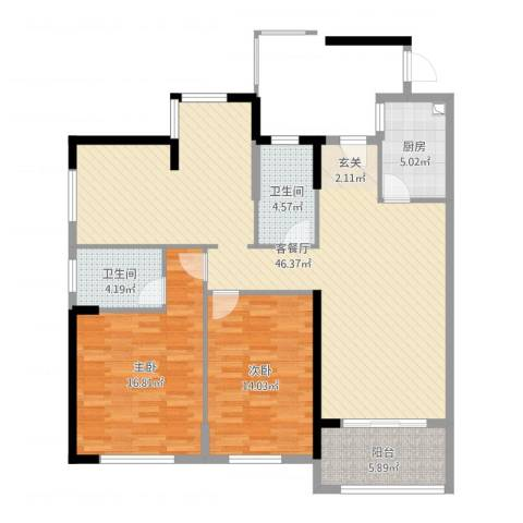 宜都九州丽景苑2室2厅2卫1厨121.00㎡户型图