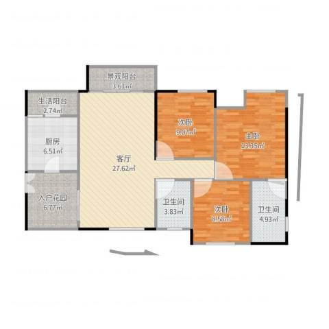 泽胜温泉城3室1厅2卫1厨109.00㎡户型图