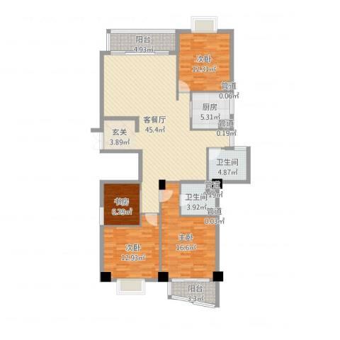 紫荆花园4室2厅2卫1厨145.00㎡户型图