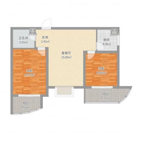 绿地世纪城・塞纳印象2室2厅1卫1厨89.00㎡户型图