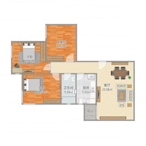三箭瑞福苑3室1厅1卫1厨112.00㎡户型图