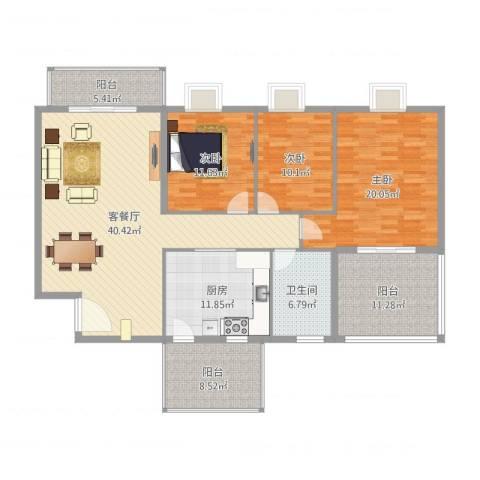 海逸长洲恋海园3室2厅1卫1厨126.06㎡户型图