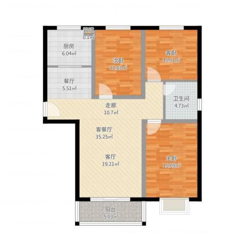 玉泉华庭3室2厅1卫1厨110.00㎡户型图