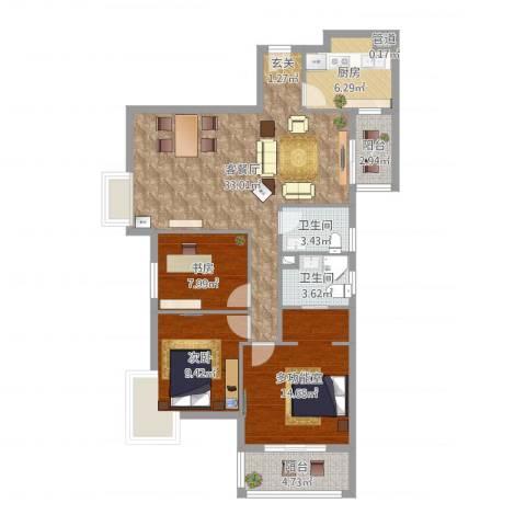 汉口春天2室2厅2卫1厨108.00㎡户型图