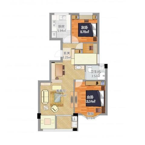 姚江上上城2室2厅1卫1厨84.00㎡户型图