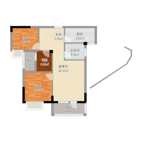 学府丽城3室2厅1卫1厨82.00㎡户型图