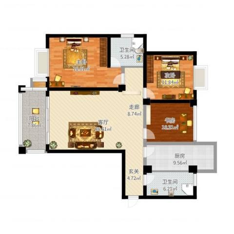 福瑞嘉园3室1厅2卫1厨135.00㎡户型图