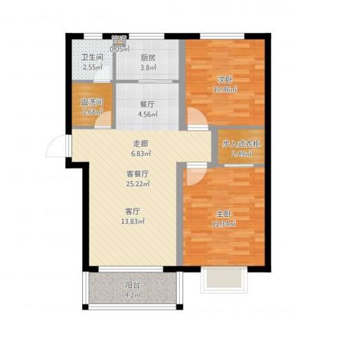 玉泉华庭2室2厅1卫1厨80.00㎡户型图
