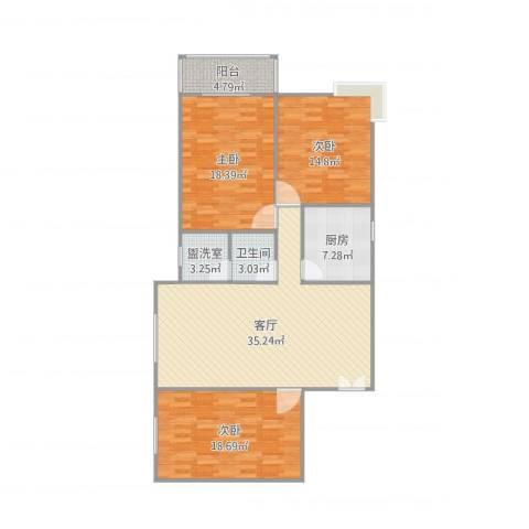 铁路小区3室3厅1卫1厨132.00㎡户型图