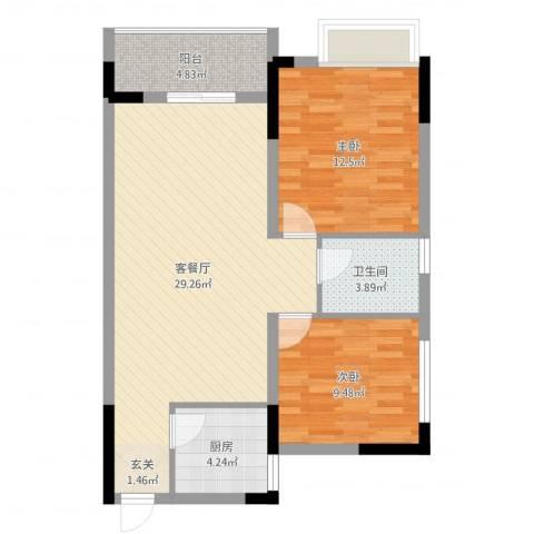 香泉公馆2室2厅1卫1厨80.00㎡户型图