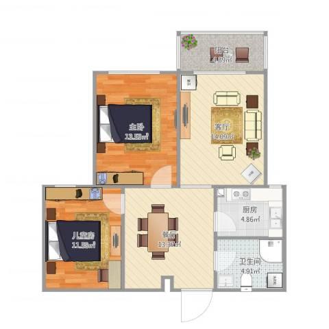 原平迎宾小区C2室2厅1卫1厨84.00㎡户型图
