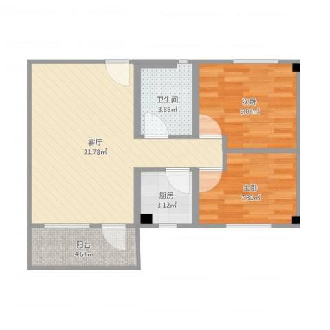 上步花园2室1厅1卫1厨62.00㎡户型图