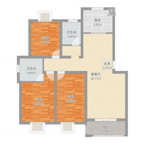 大德世家德信商业广场住宅3室2厅2卫1厨108.00㎡户型图