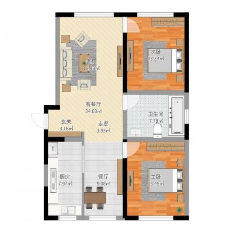 牡丹江国际花都2室2厅1卫1厨97.00㎡户型图